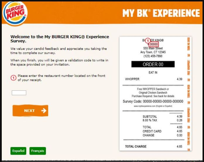 Burger King Experience Survey at www mybkexperience com