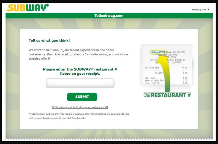 Tell Subway Survey Step By Step Guide