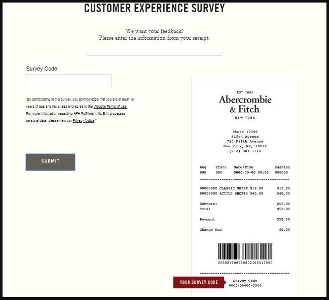 Abercrombie & Fitch Survey Step By Step Guide