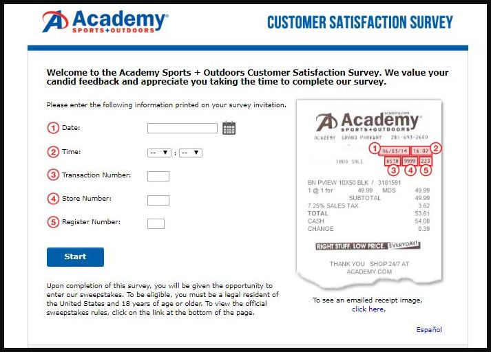 Academy Sports and Outdoors Customer Satisfaction Survey guide