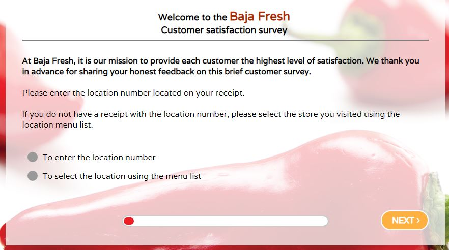 Baja Fresh Survey at www bajafreshsurvey com Step By Step Guide