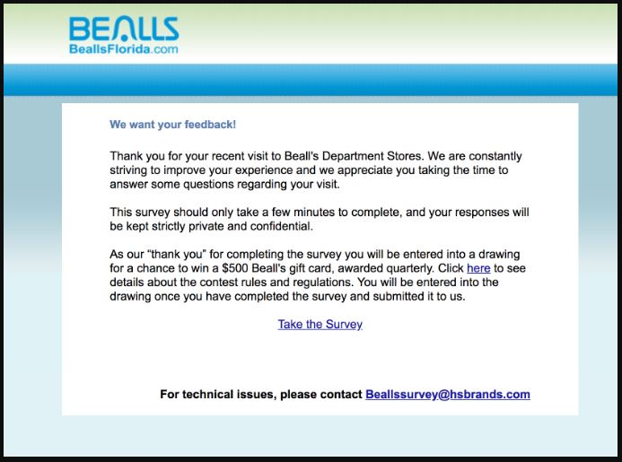 Bealls Florida Customer Satisfaction Survey guide