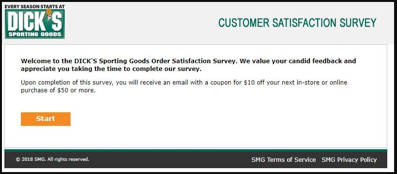 DICKS Sporting Goods Customer Satisfaction Survey step 1