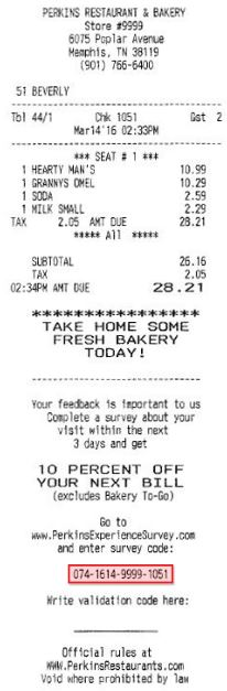 Perkins Experience Survey receipt