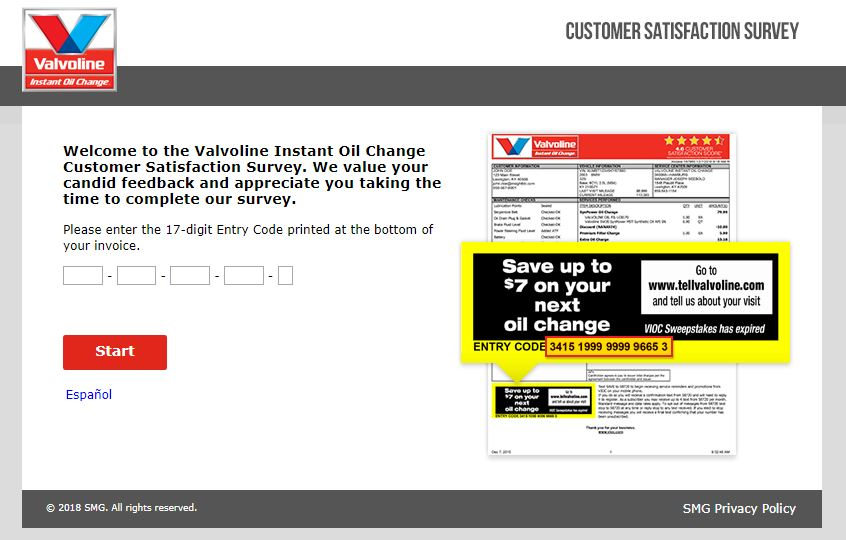 Valvoline Instant Oil Change Survey guide