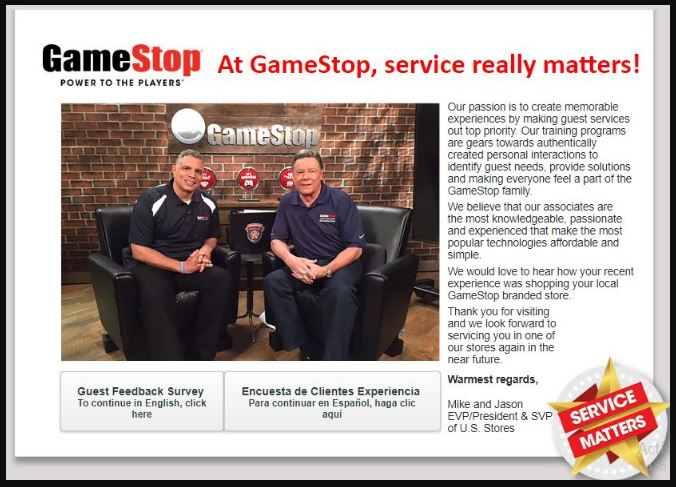 GameStop Customer Experience Survey step 1