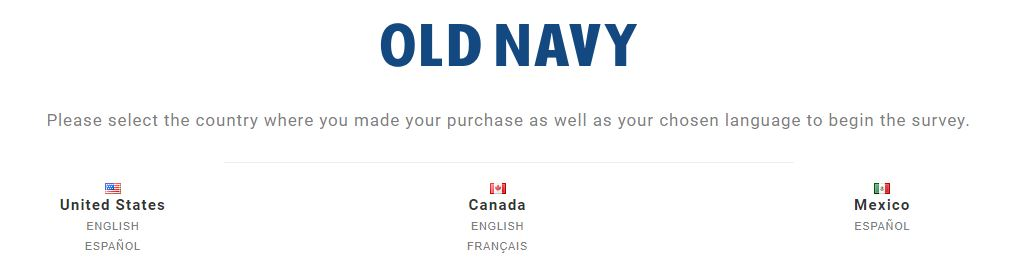 Old Navy Customer Satisfaction Survey step 1