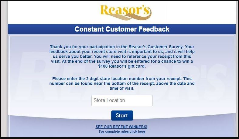 Reasors Customer Satisfaction Survey guide