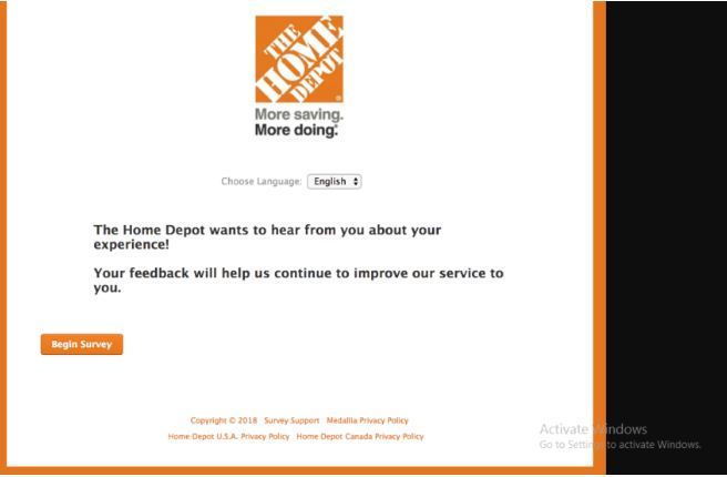 home depot customr survey