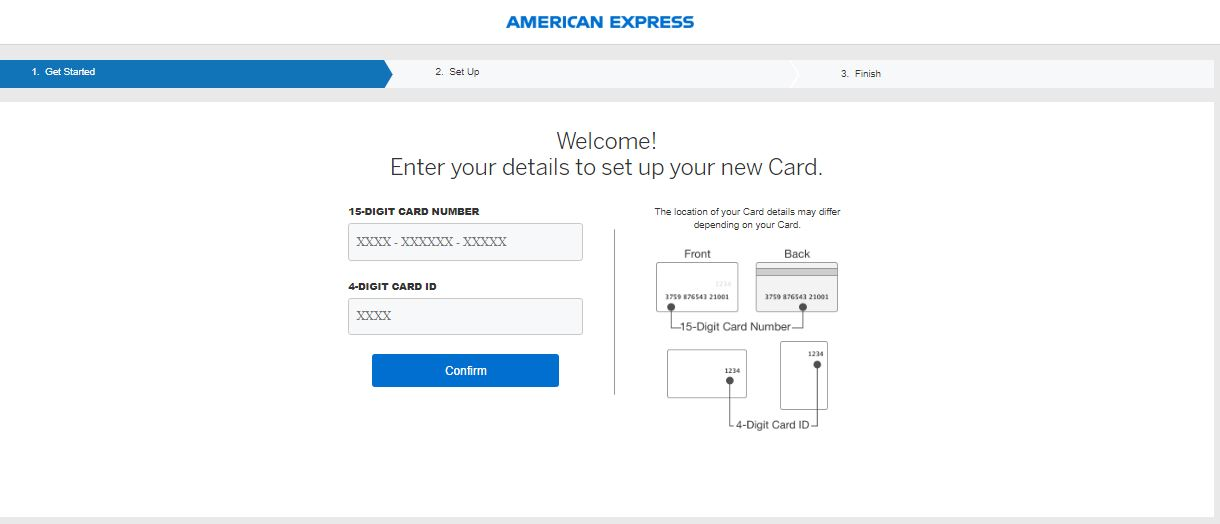 How to confirm the American Express credit card online